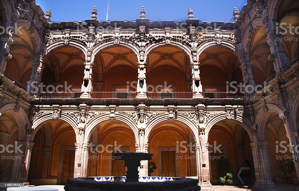 Fountain Courtyard Orange Arches Sculptures Queretaro Mexico stock photo