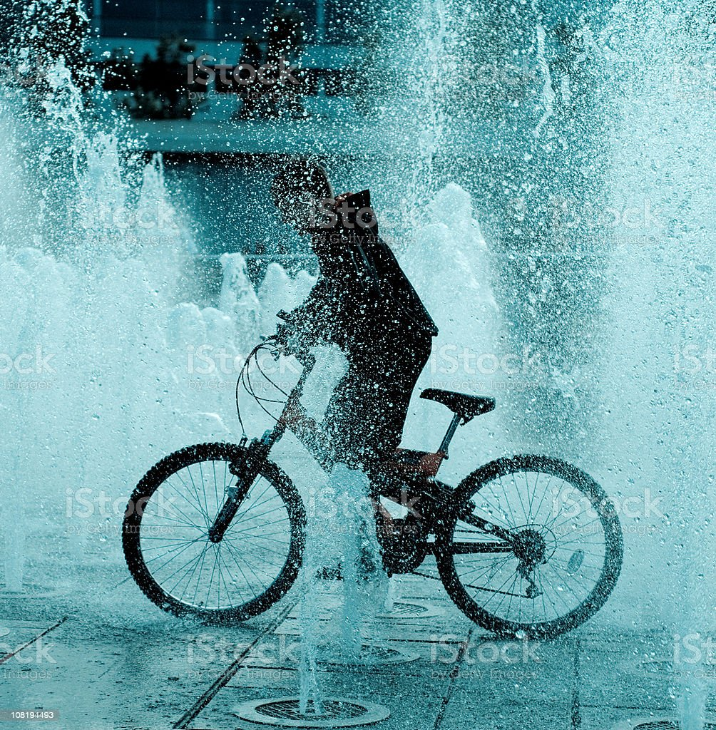 Fountain Cyclist royalty-free stock photo
