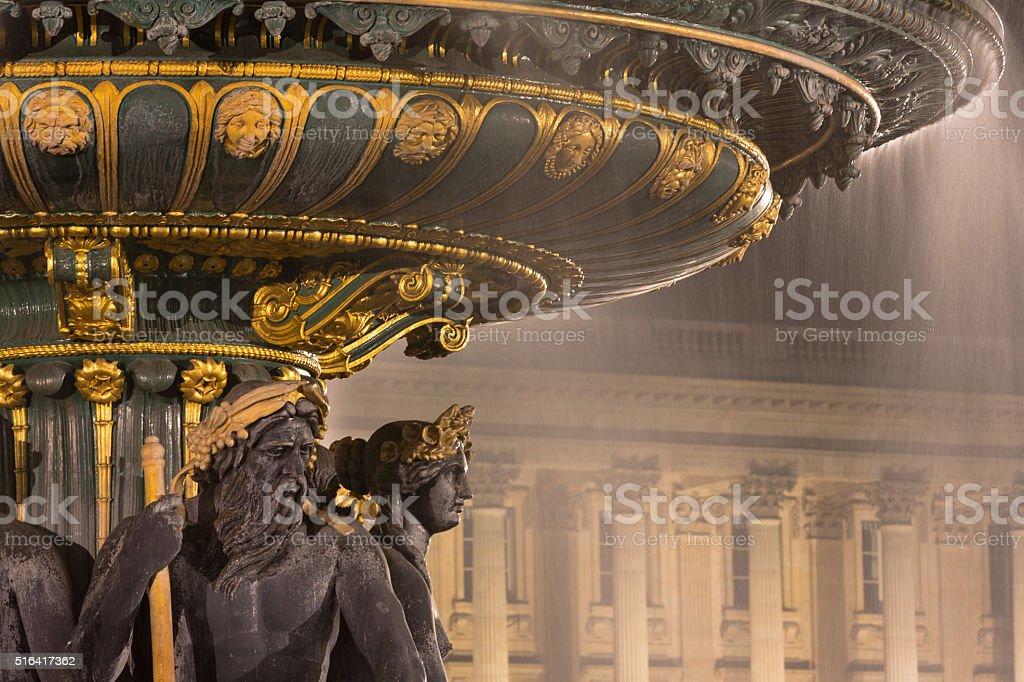 Fountain des Mers, Concorde square, Paris stock photo