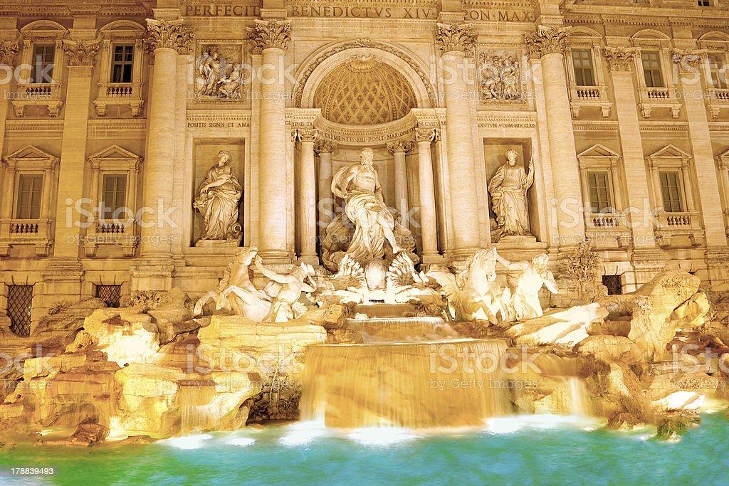 Fountain di Trevi .Night scene. Rome royalty-free stock photo