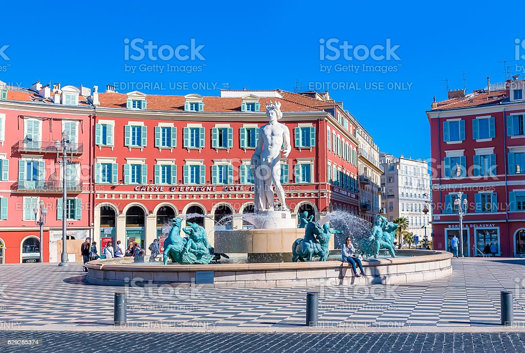 Fountain du Soleil on Place Massena in Nice France stock photo
