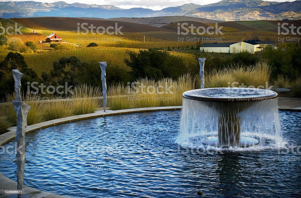 fountain, farmhouse, and vineyard stock photo