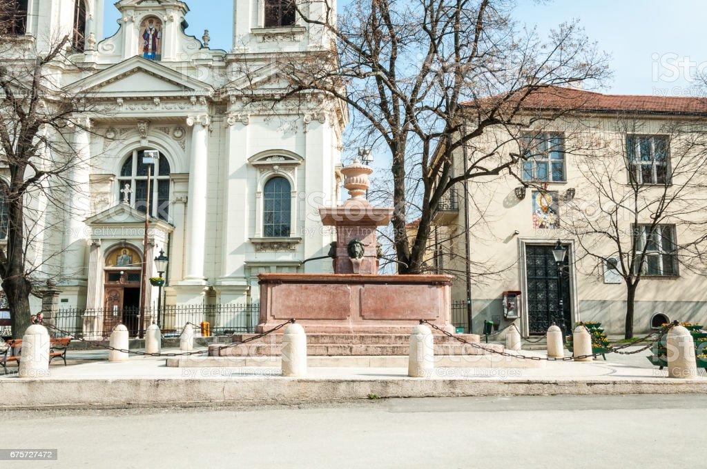 Fountain Four lions, Sremski Karlovci, Serbia. stock photo