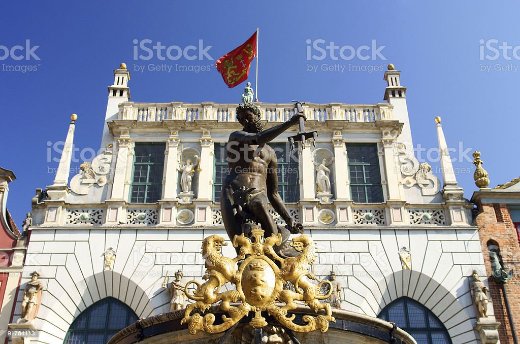 Fountain from Neptune statue on old city in gdansk. stock photo