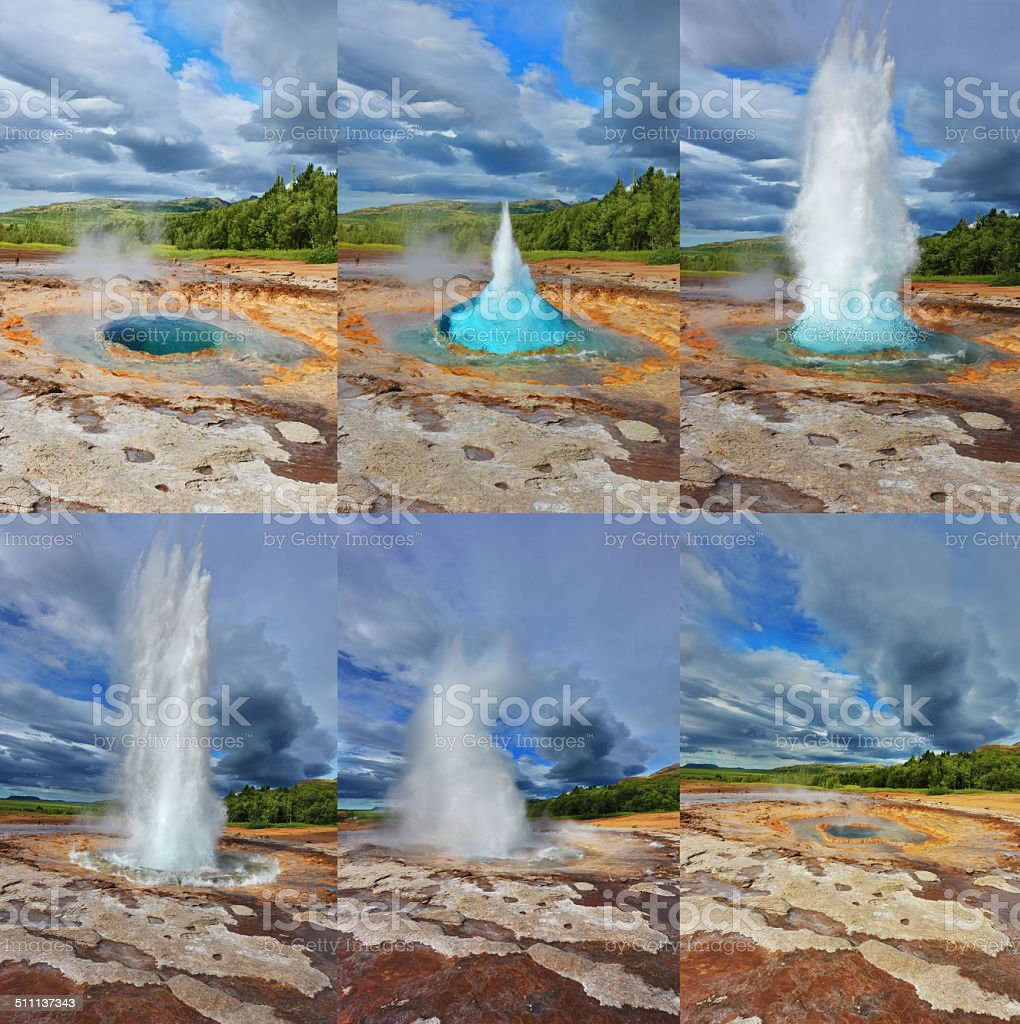 Fountain Geyser throws hot water stock photo