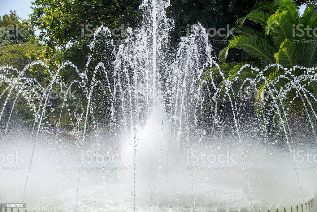 Fountain gushing water. stock photo