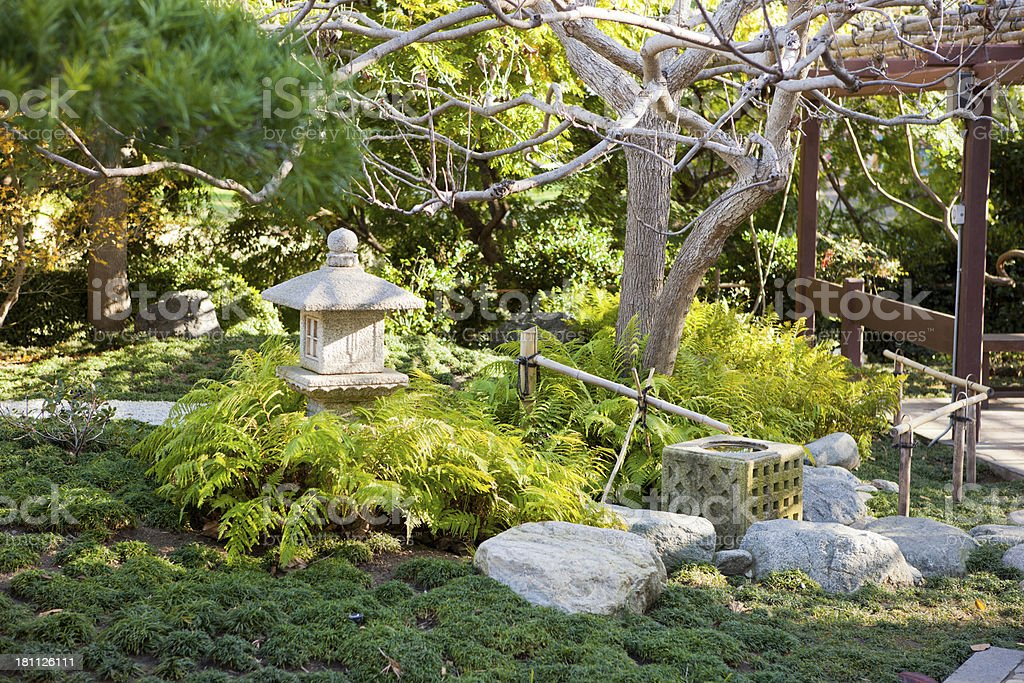 Fountain in a Japanese garden royalty-free stock photo