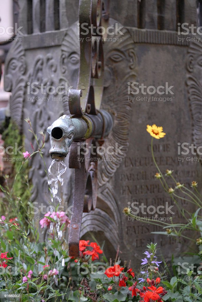 Fountain in Alsace, France royalty-free stock photo