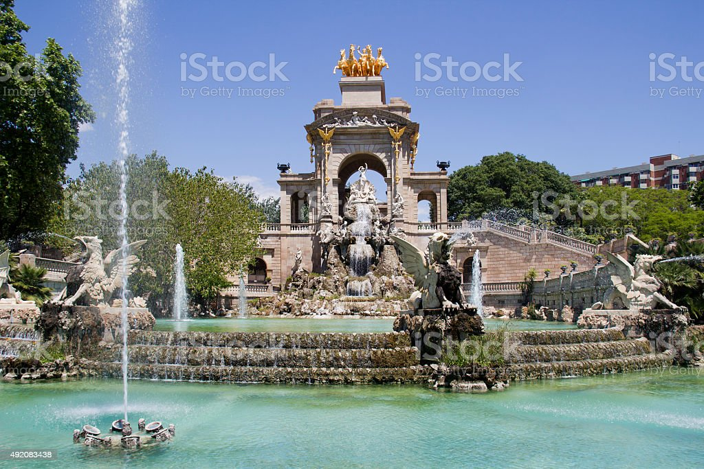 Fountain in Barcelona stock photo