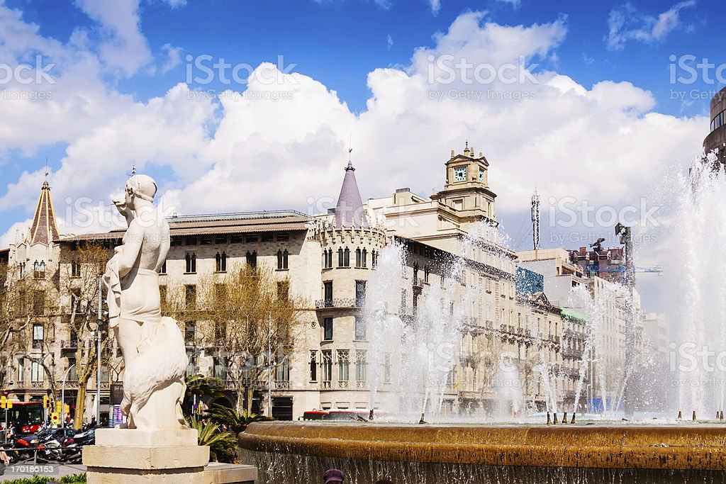 Fountain in Catalonia Square stock photo