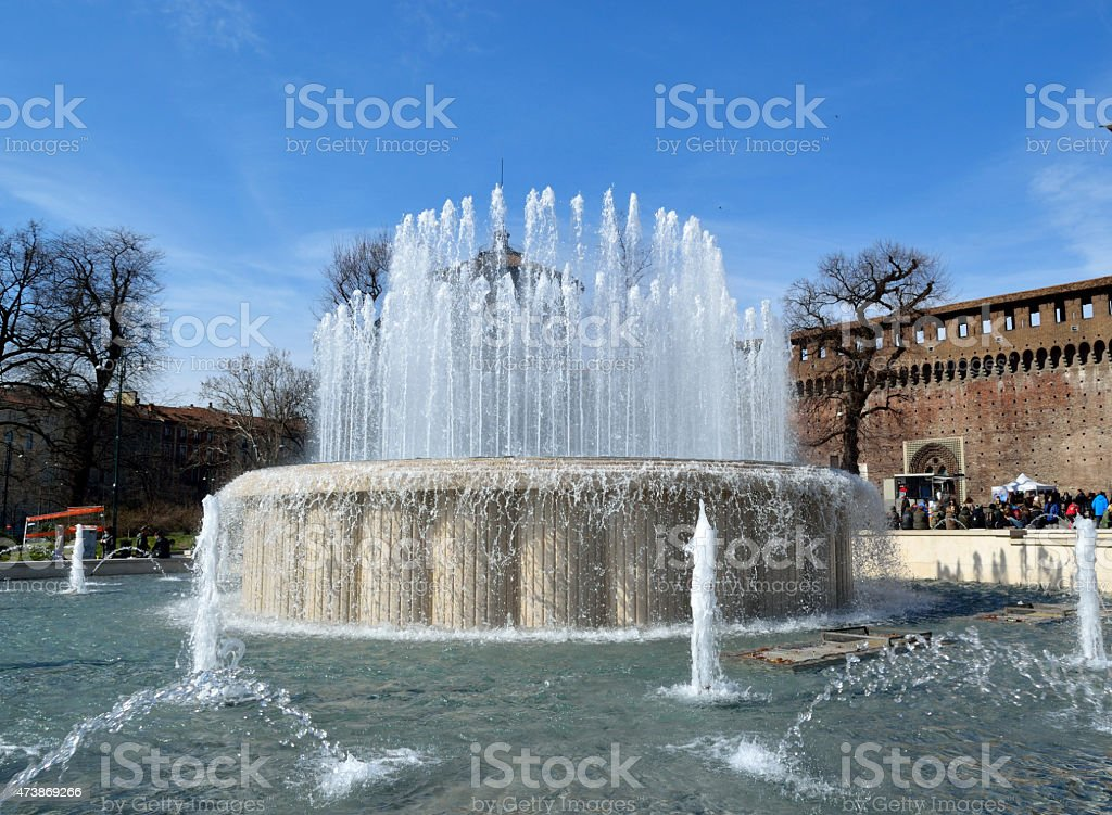 fountain in city summer royalty-free stock photo