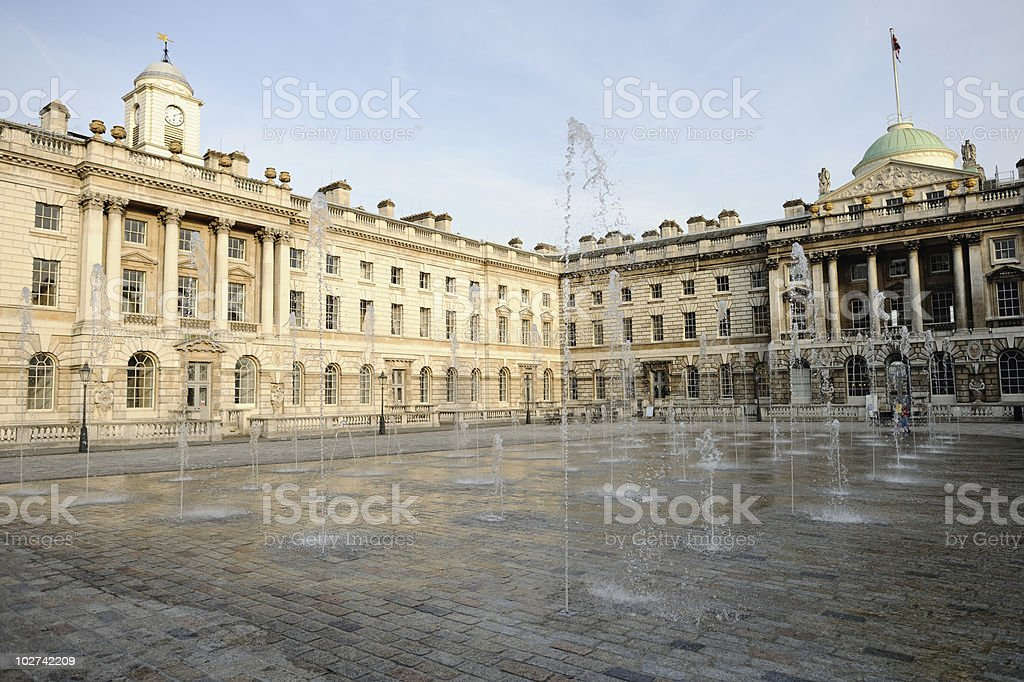 Fountain in courtyard of Somerset House, London stock photo
