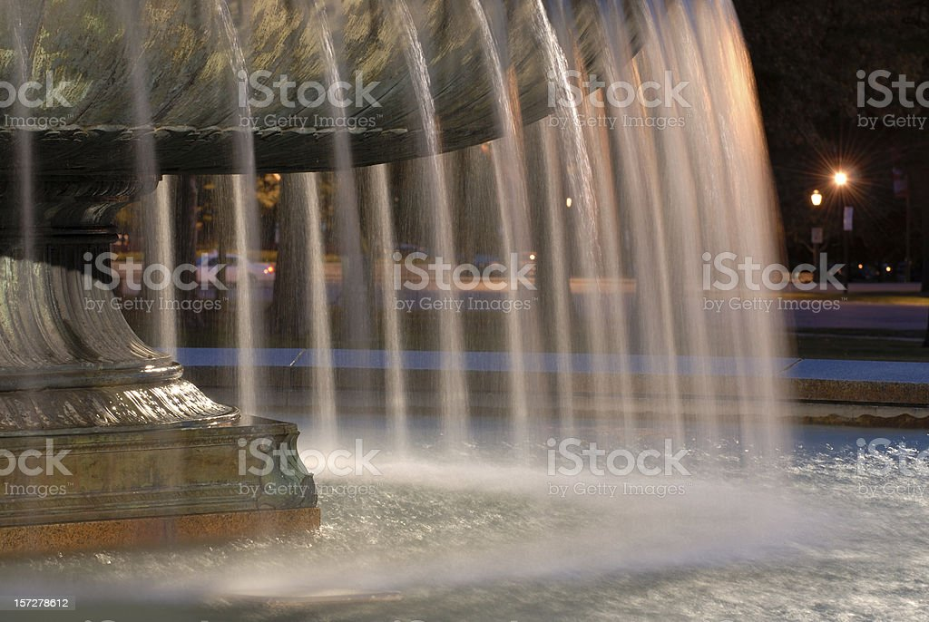 Fountain in Downtown Philadelphia at Night royalty-free stock photo