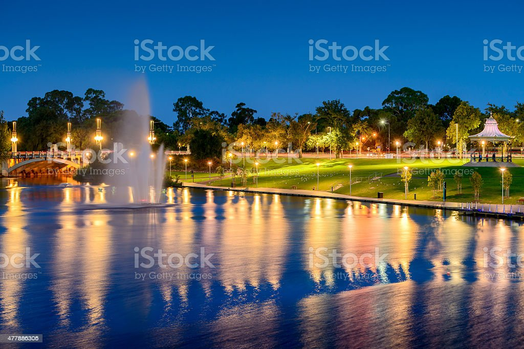 Fountain in Elder Park at night, Adelaide City stock photo