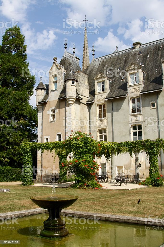 Fountain In Front Of A 1800 Century Chateau stock photo