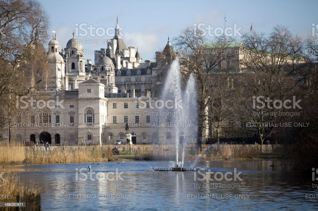 Fountain in front of  Horse Guards Parade London royalty-free stock photo