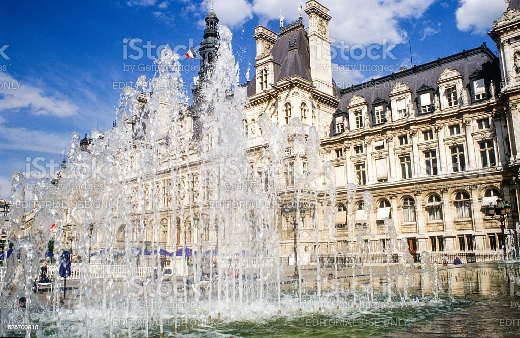 Fountain in front of the city-hall at Paris on France stock photo
