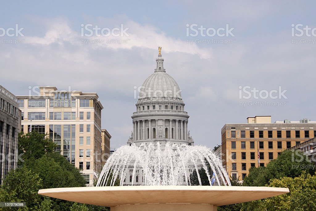 Fountain in front of State Capitol Building stock photo