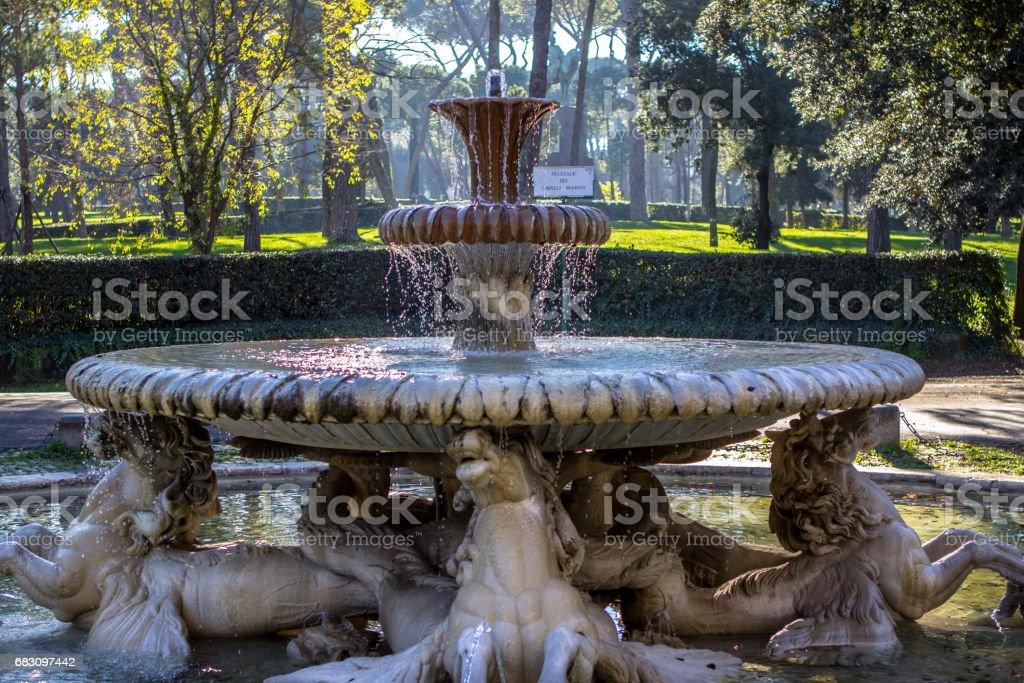 Fountain in Garden of Villa Borghese, Rome stock photo