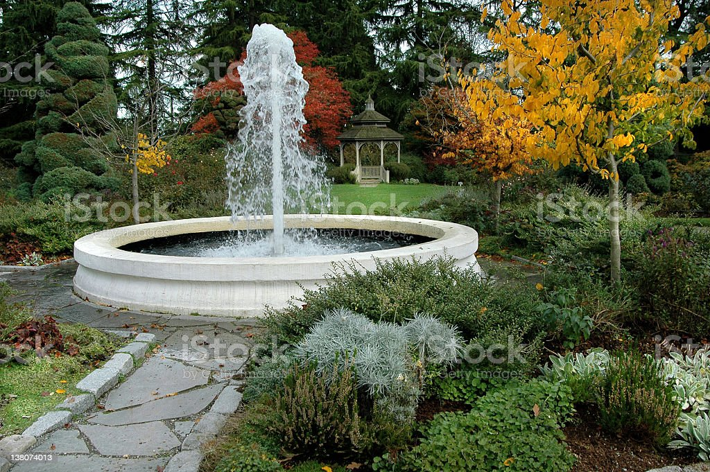 Fountain in Garden Seattle Zoo Washington stock photo