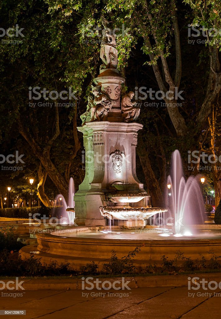 Fountain in Madrid stock photo