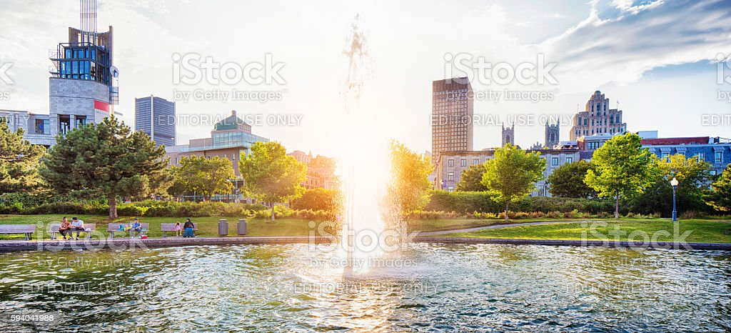 Fountain in Montreal's old port at sunset stock photo