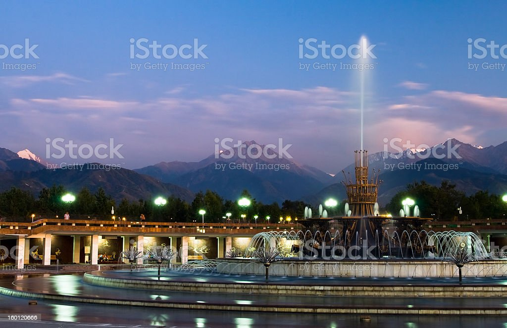 Fountain in National Park of Almaty stock photo