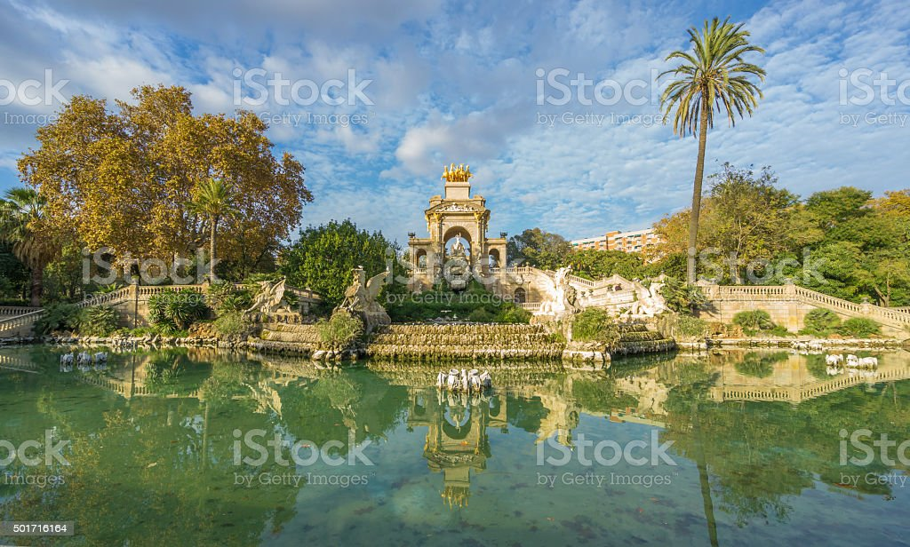 Fountain in Parc De la Ciutadella in Barcelona, Spain stock photo