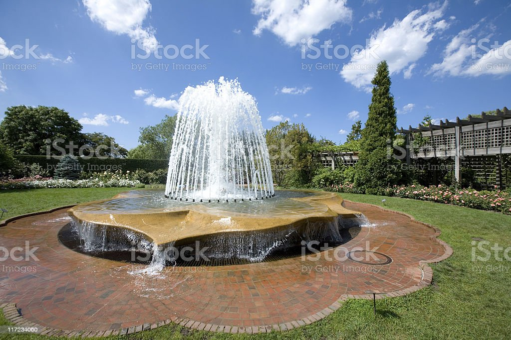 Fountain in park stock photo