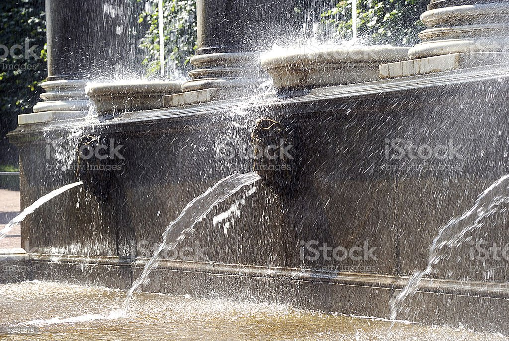 Fountain in Petergof Park. Petrodvorets royalty-free stock photo