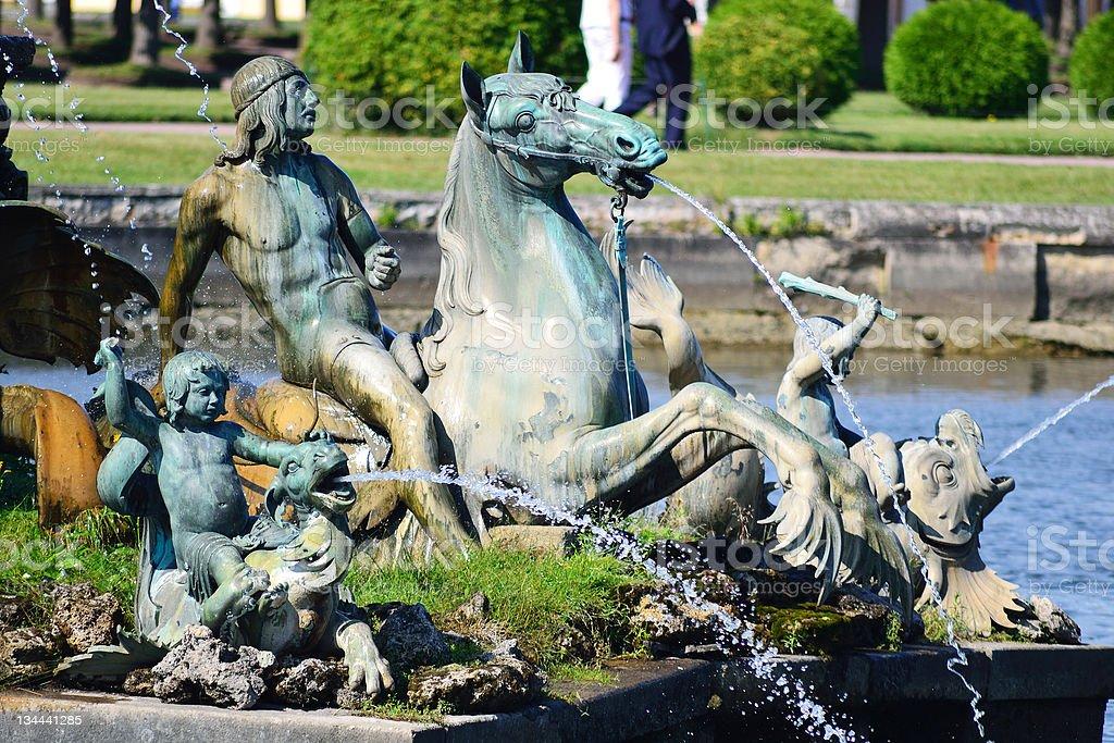 Fountain in Petergof stock photo