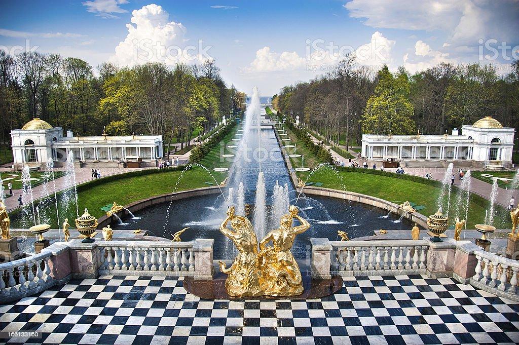 Fountain in Peterhof stock photo