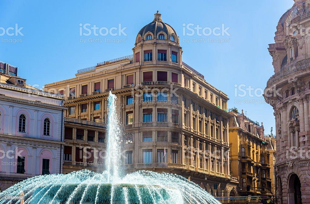 Fountain in Piazza de Ferrari - Genoa, Italy stock photo