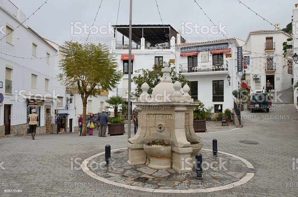 Fountain in plaza stock photo