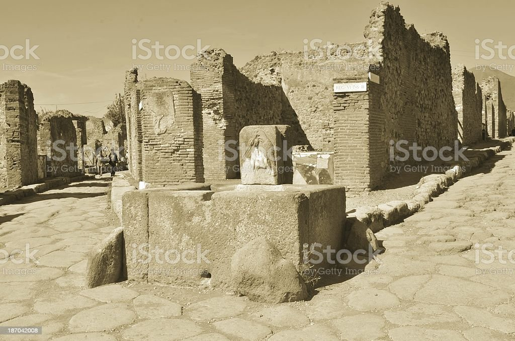 Fountain in Pompeii royalty-free stock photo