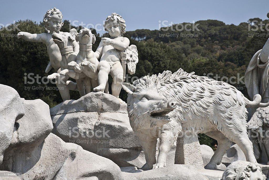 Fountain in Royal Palace of Caserta Park, Italy stock photo