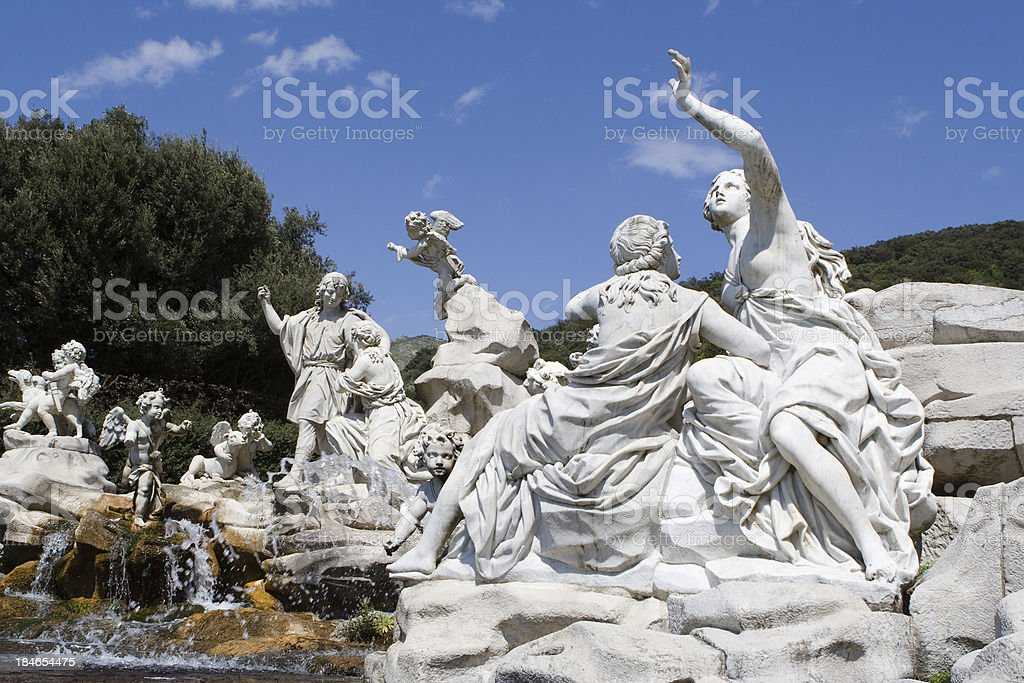 Fountain in Royal Palace of Caserta Park, Italy royalty-free stock photo