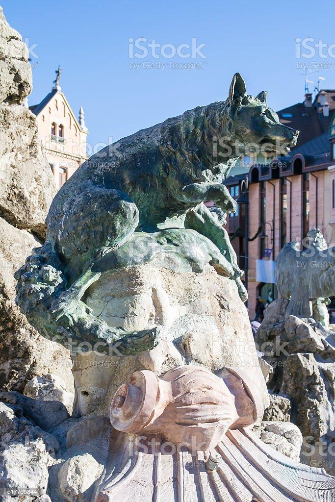 Fountain in square Carli, Asiago, Italy. stock photo