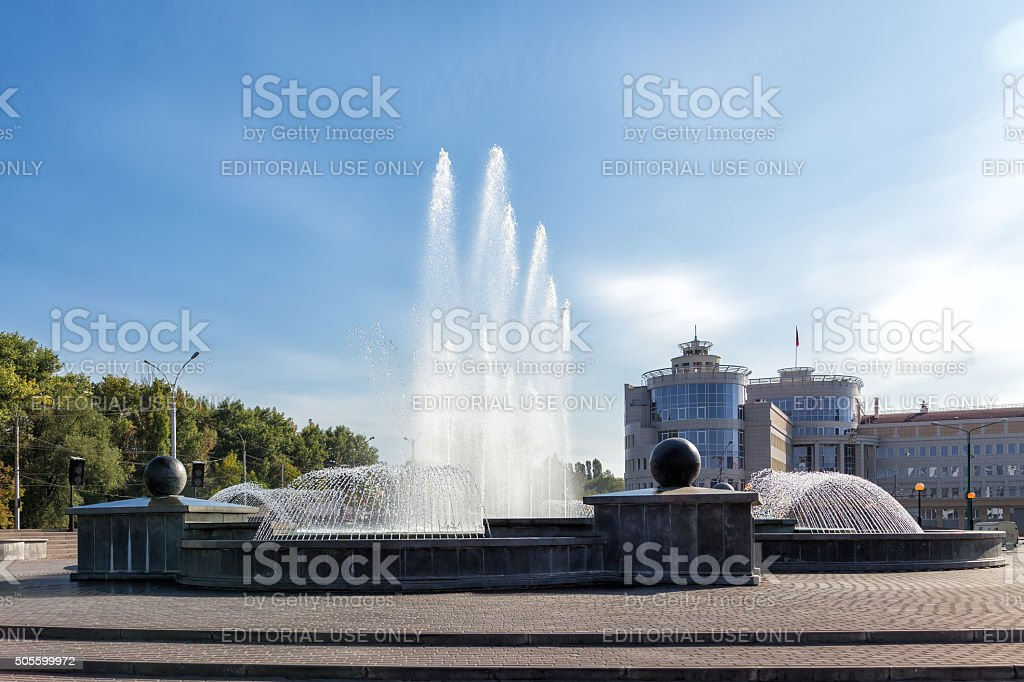 Fountain in square of Peter the Great. Lipetsk stock photo