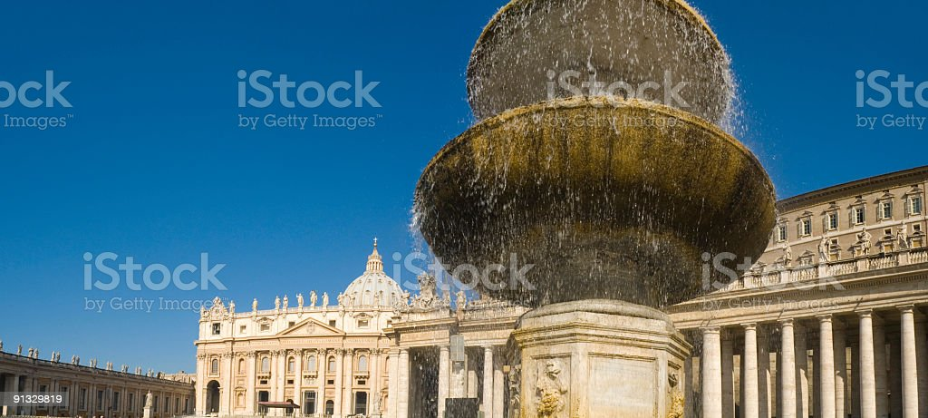 Fountain in St. Peter's Square, Rome stock photo