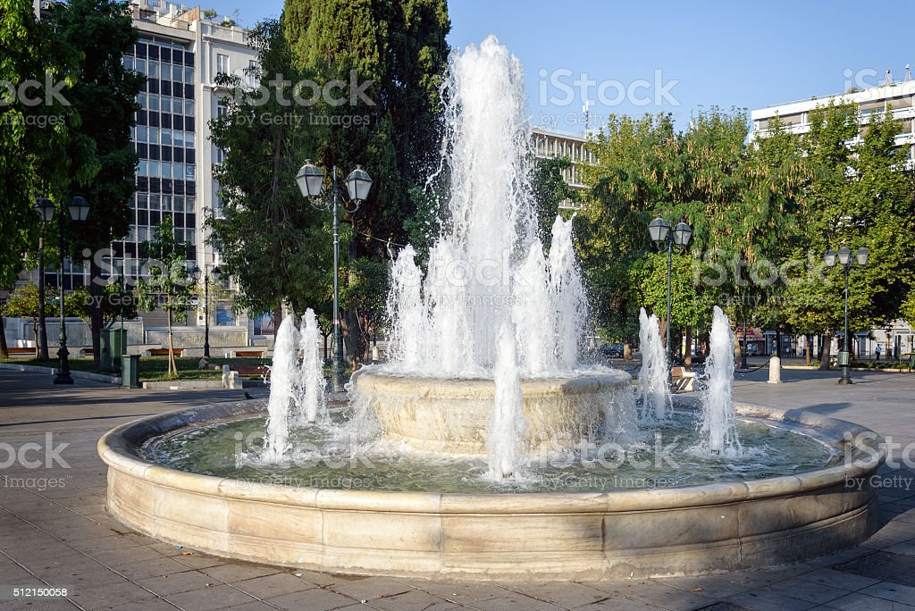 Fountain in Syntagma square in front of the Greek parliament stock photo