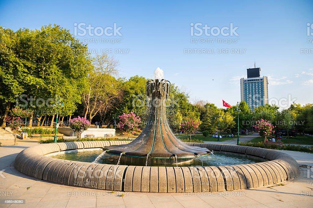 Fountain in Taksim Gezi Park next to Taksim Square stock photo
