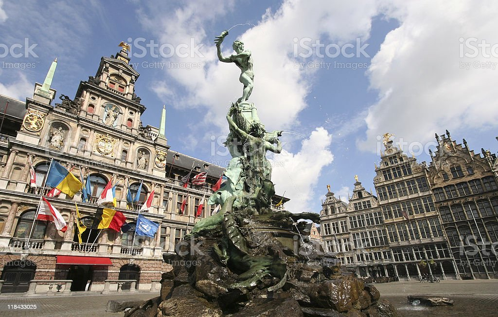 Fountain in the center of Antwerp stock photo