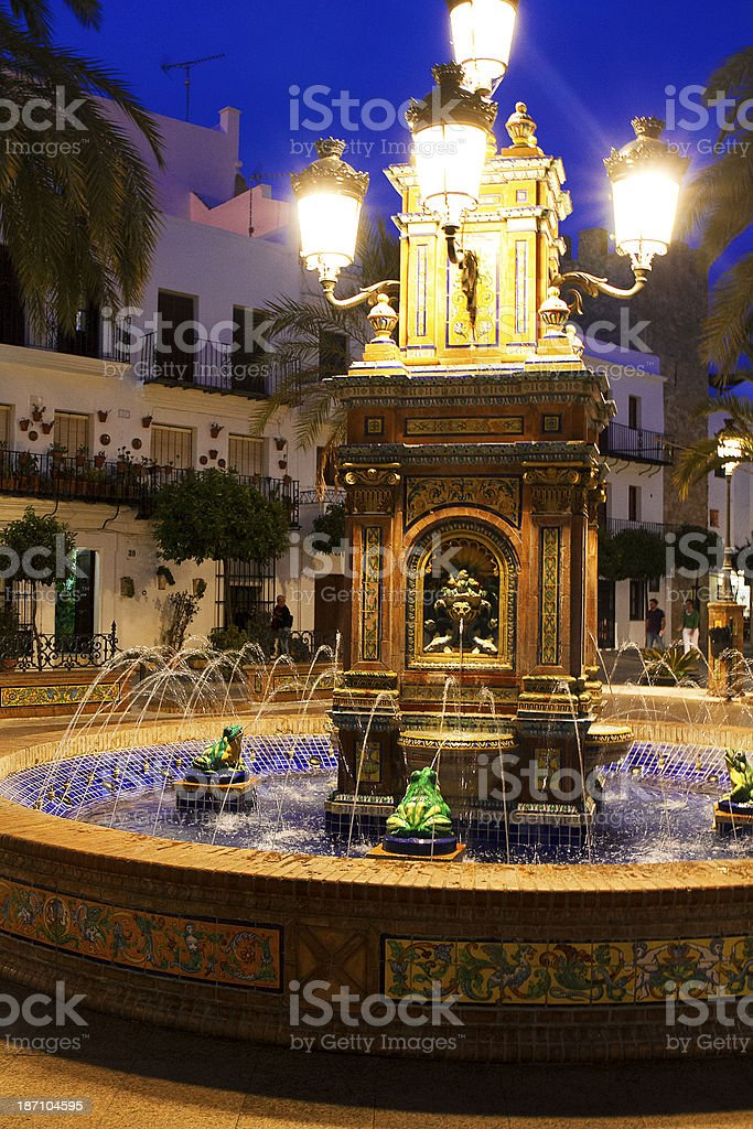 Fountain in the night stock photo