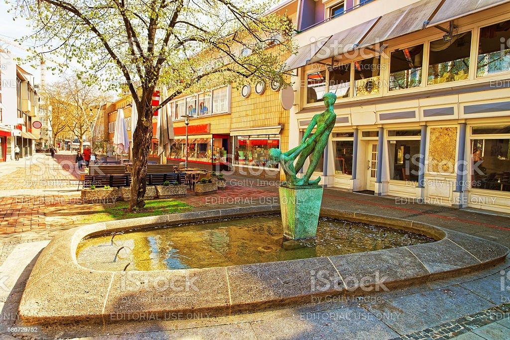 Fountain in the Old Street in Hanover in Germany stock photo