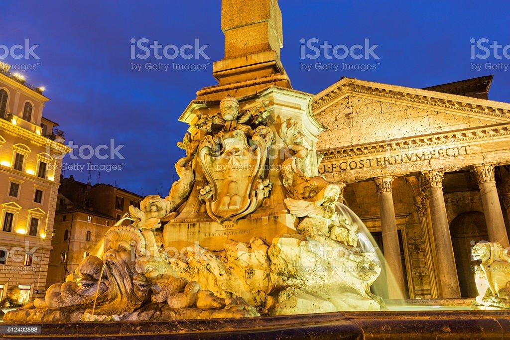 Fountain in the Pantheon's Piazza della Rotonda in Rome, Italy stock photo