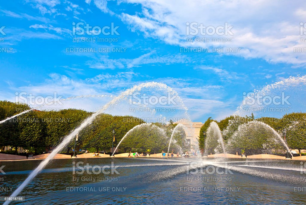 fountain in the sculpture garden of the national gallery stock photo