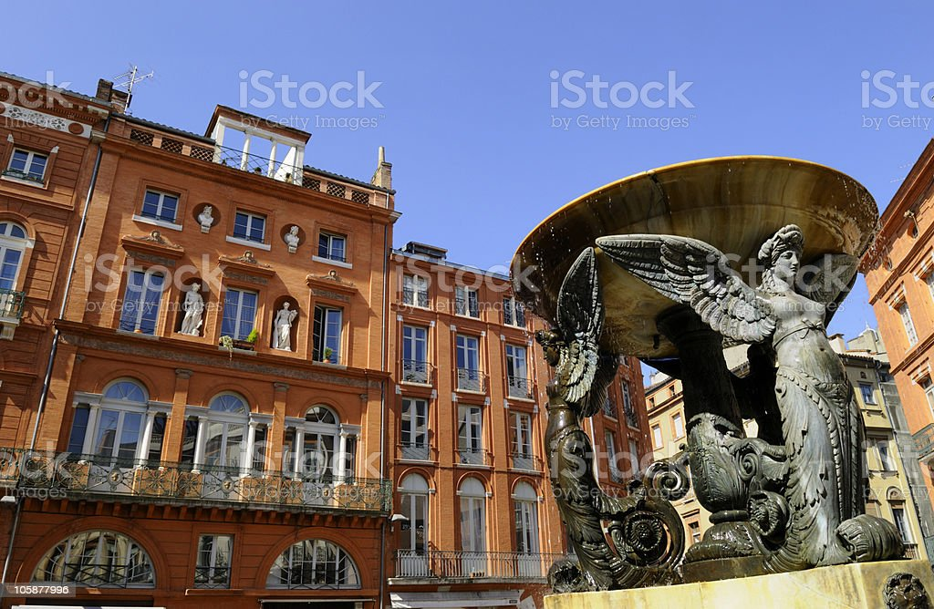 fountain in Toulouse stock photo