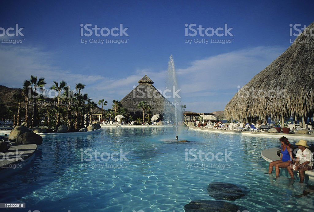 Fountain in Tropical Pool royalty-free stock photo