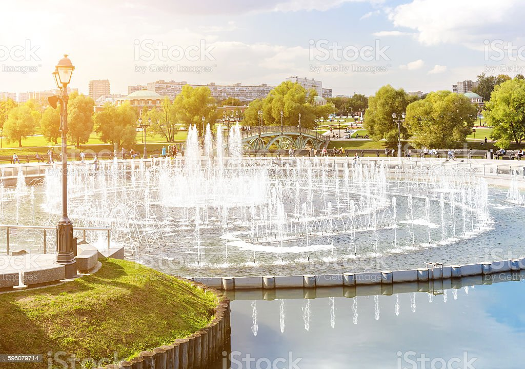 Fountain in Tsaritsyno park stock photo